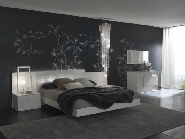d coration chambre avec mur gris exemples d 39 am nagements. Black Bedroom Furniture Sets. Home Design Ideas