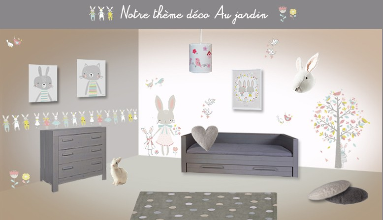 D coration chambre bebe theme jardin exemples d 39 am nagements for Organisation chambre bebe