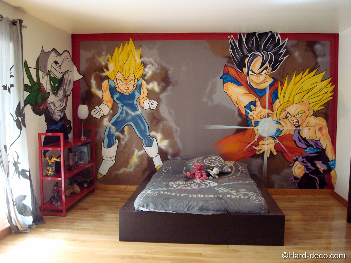 D coration chambre manga exemples d 39 am nagements for Dragon ball z mural