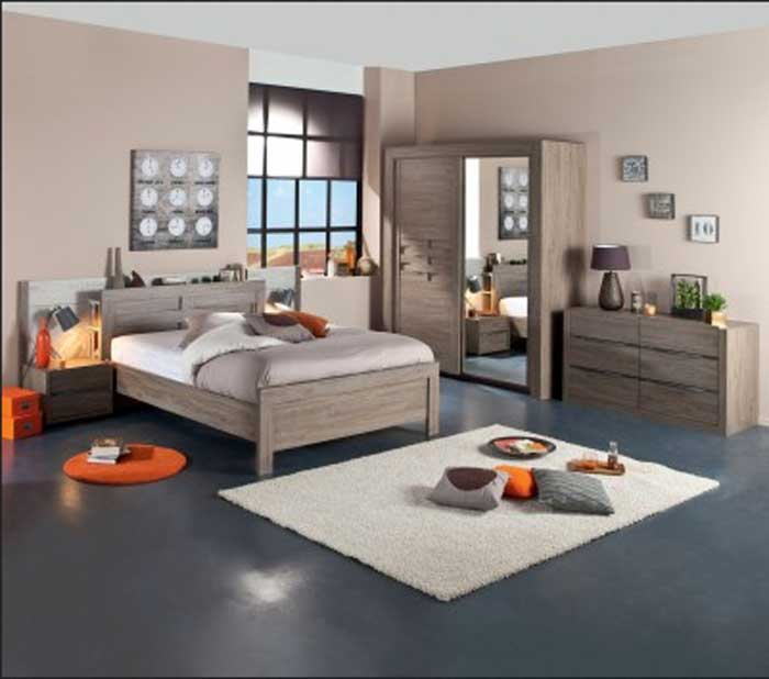 D coration chambre meuble bois exemples d 39 am nagements for Chambre ado orange et gris