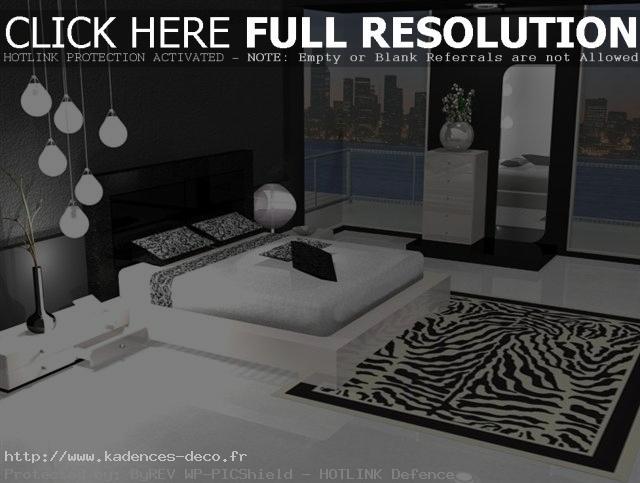 aménagement décoration chambre moderne noir blanc