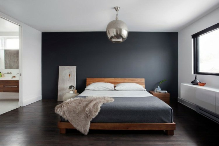 D coration chambre mur gris exemples d 39 am nagements for Exemple deco chambre adulte