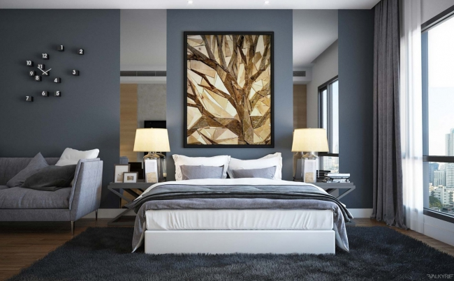 d coration chambre mur gris exemples d 39 am nagements. Black Bedroom Furniture Sets. Home Design Ideas