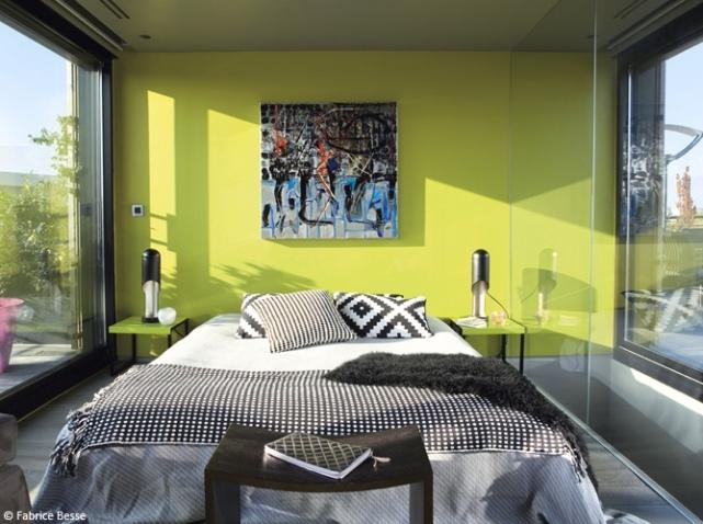 Décoration chambre mur vert - Exemples d\'aménagements