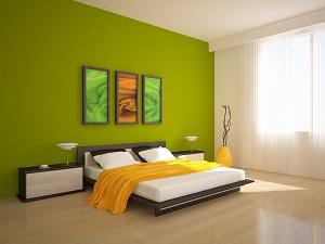 D coration chambre mur vert exemples d 39 am nagements - Peinture verte chambre ...