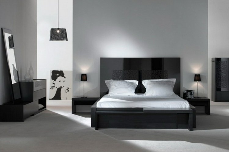 d coration chambre noir et blanc exemples d 39 am nagements. Black Bedroom Furniture Sets. Home Design Ideas