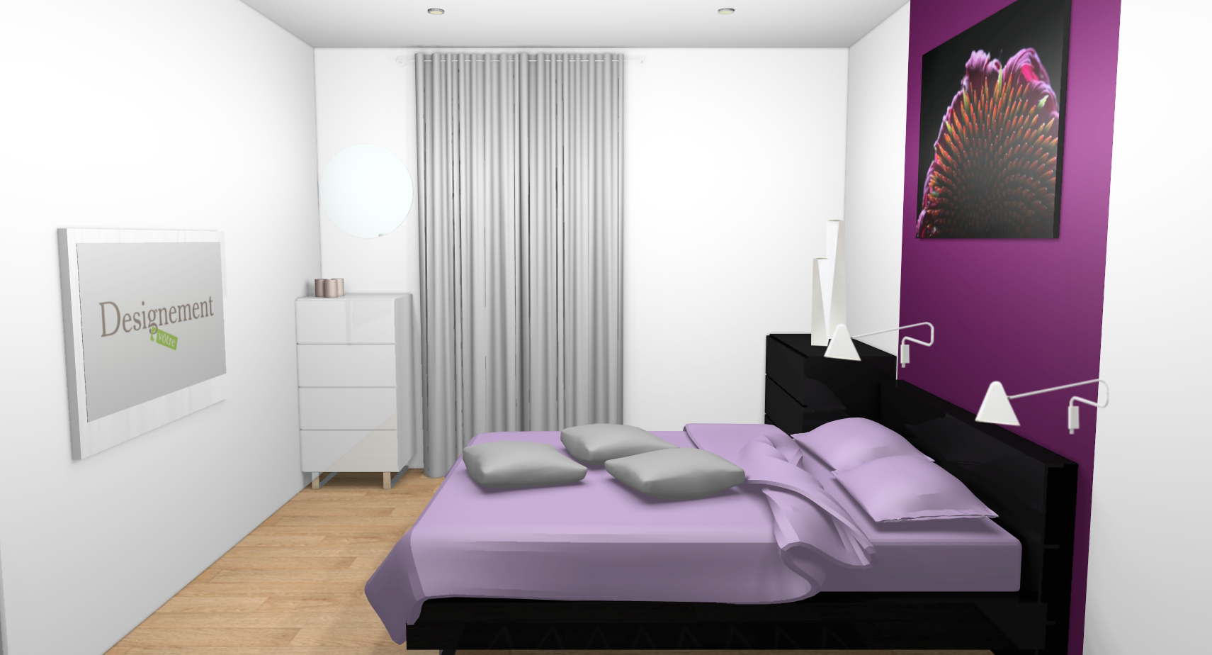 D co chambre prune et blanc for Deco salon chambre