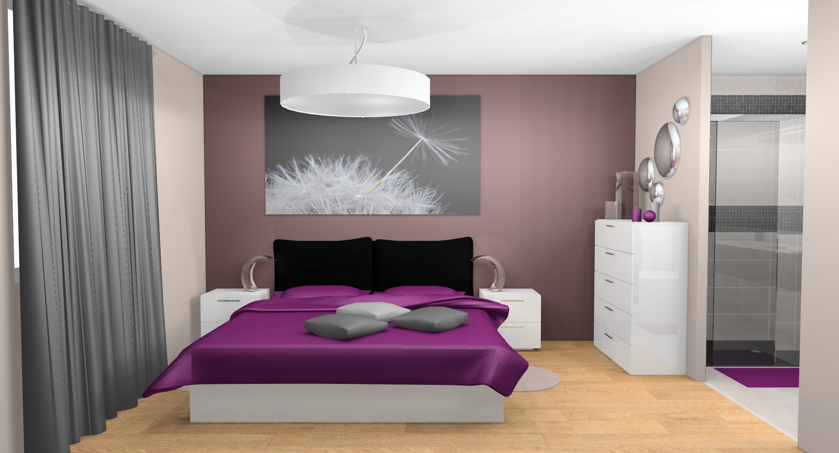 D co chambre prune et beige for Decoration chambre parent