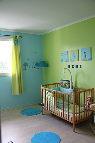 Awesome dcoration chambre vert et bleu with deco chambre verte for Decoration chambre verte
