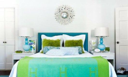 amnagement dcoration chambre vert et bleu - Chambre Bleu Vert
