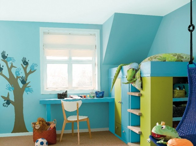 d coration chambre vert et bleu exemples d 39 am nagements. Black Bedroom Furniture Sets. Home Design Ideas
