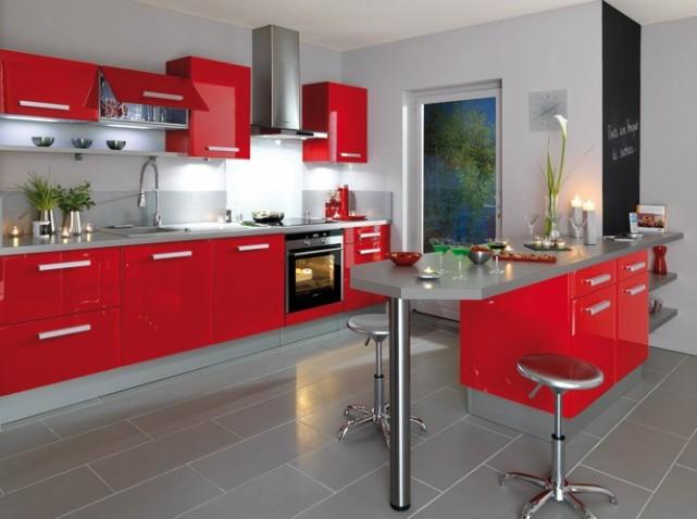 Decoration De Cuisine Rouge Et Blanc Idées De Design Maison Et - Carrelage pour cuisine grise pour idees de deco de cuisine