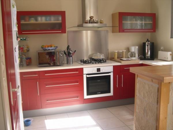 Décoration cuisine rouge et beige  Exemples daménagements[R