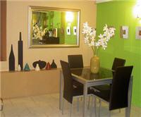 Décoration salle à manger marron et vert