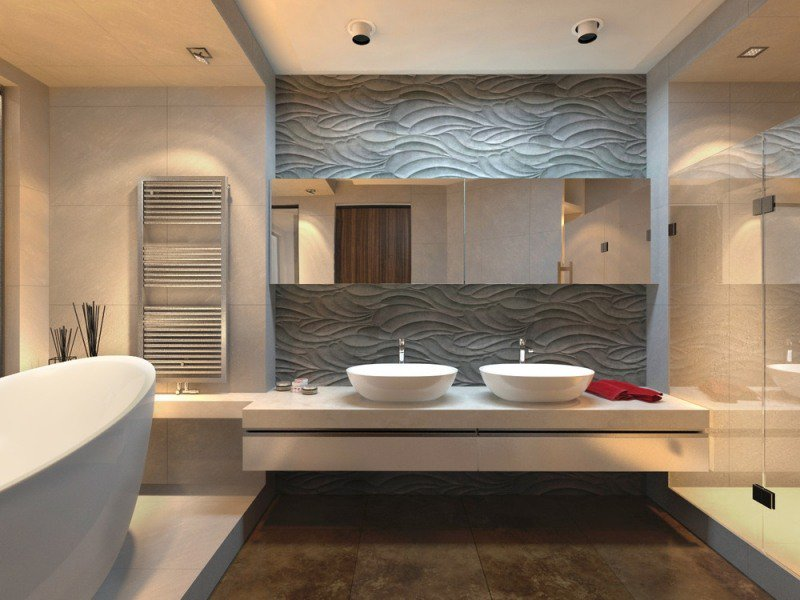 D coration salle de bain mur exemples d 39 am nagements for Decoration carrelage mural salle de bain