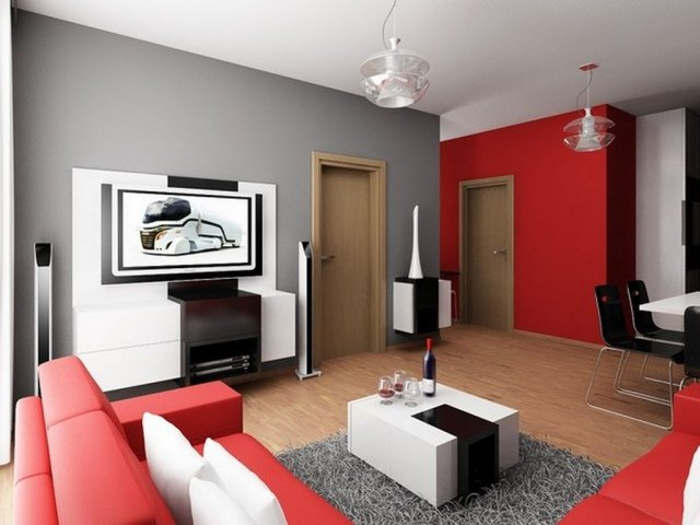 d coration salon gris et rouge exemples d 39 am nagements. Black Bedroom Furniture Sets. Home Design Ideas