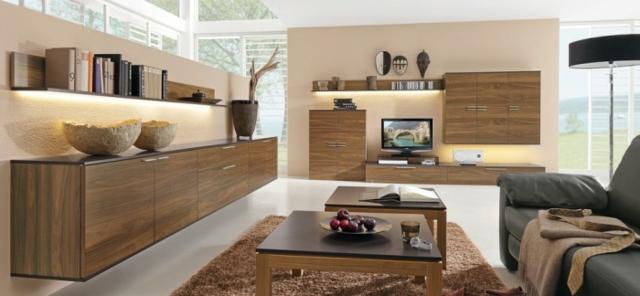D coration salon moderne bois exemples d 39 am nagements - Salon brun et beige ...