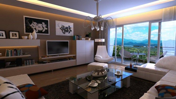 Décoration salon moderne taupe - Exemples d\'aménagements
