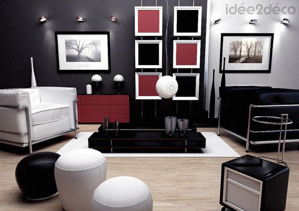 décoration salon séjour gris blanc et noir idée déco interieur. Tapis de Salon  Chambre Tapis Pas Cher MonBeauTapis