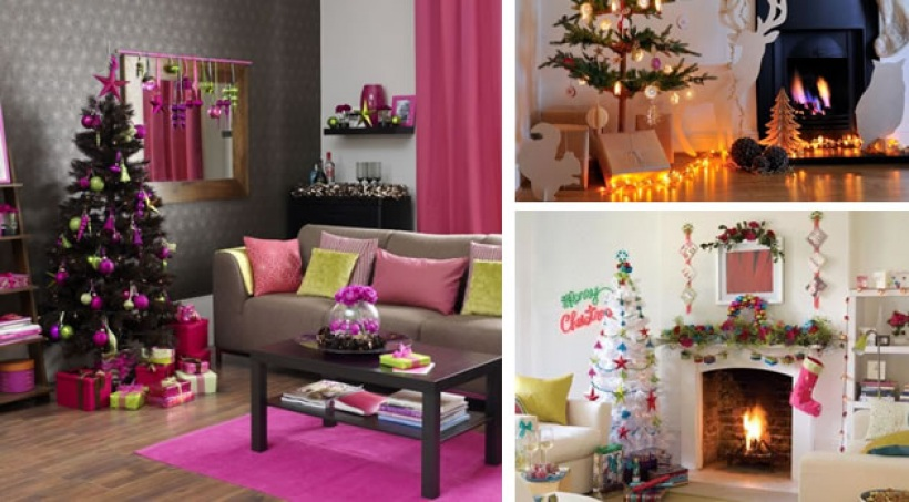 D coration salon pour noel exemples d 39 am nagements for Decoration maison fushia