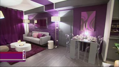 D coration salon prune et gris exemples d 39 am nagements for Deco salon noir blanc violet