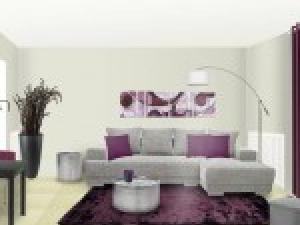 d co salon gris et prune. Black Bedroom Furniture Sets. Home Design Ideas