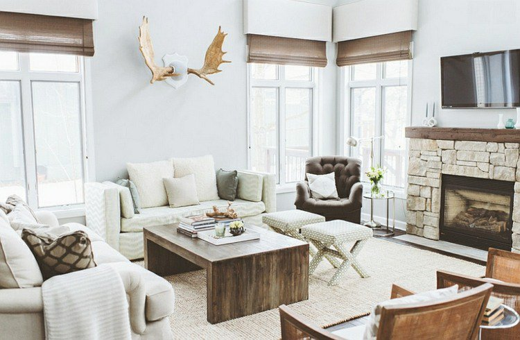 d coration salon rustique chic exemples d 39 am nagements. Black Bedroom Furniture Sets. Home Design Ideas