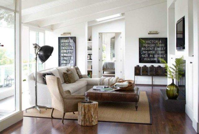 d coration salon rustique chic. Black Bedroom Furniture Sets. Home Design Ideas