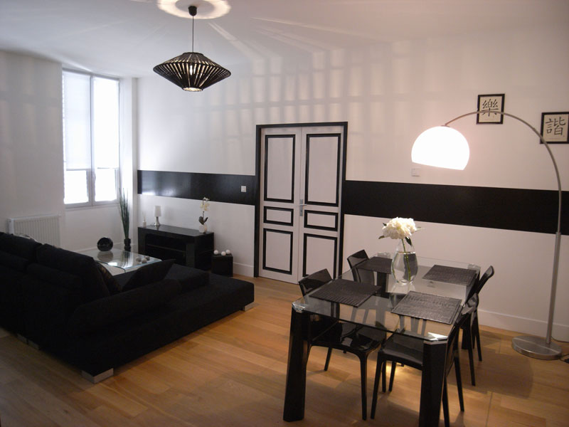 d coration salon salle a manger appartement exemples d 39 am nagements. Black Bedroom Furniture Sets. Home Design Ideas