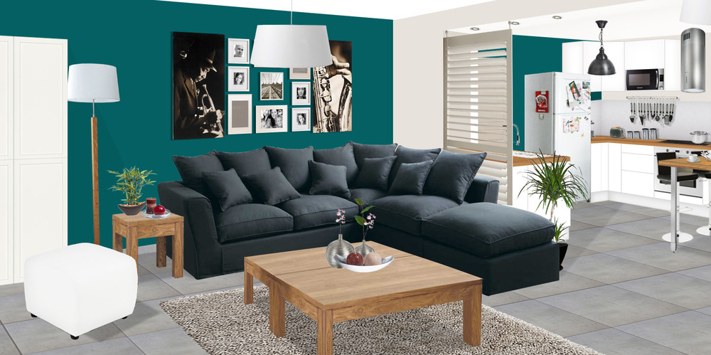 deco salon bleu turquoise et gris pr l vement d 39 chantillons et une bonne id e de. Black Bedroom Furniture Sets. Home Design Ideas