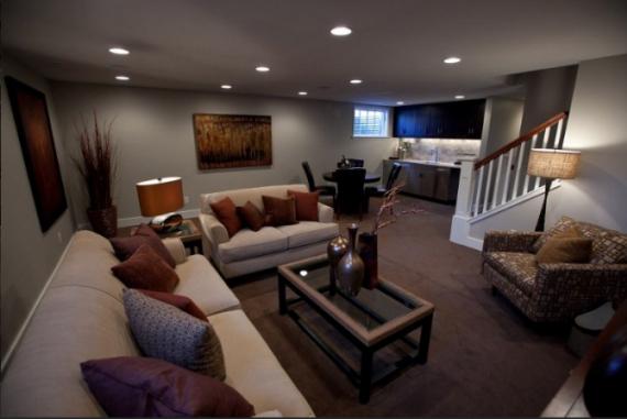 Décoration salon sous sol - Exemples d\'aménagements