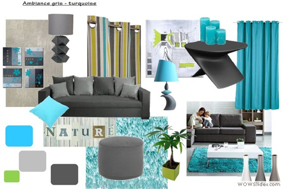 d co salon turquoise gris. Black Bedroom Furniture Sets. Home Design Ideas
