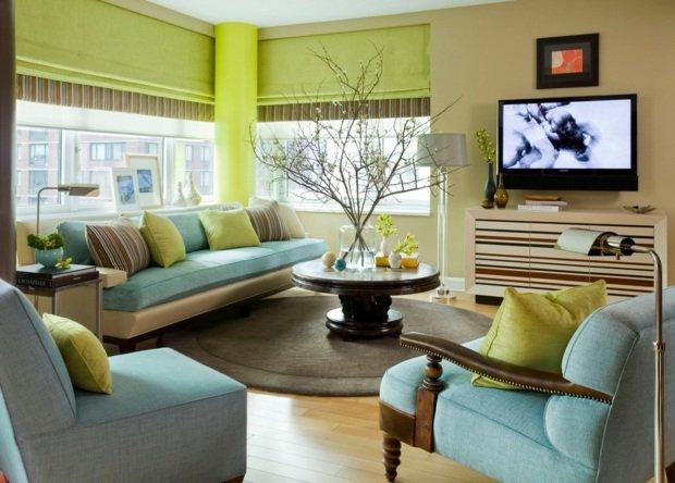 décoration salon vert anis et marron