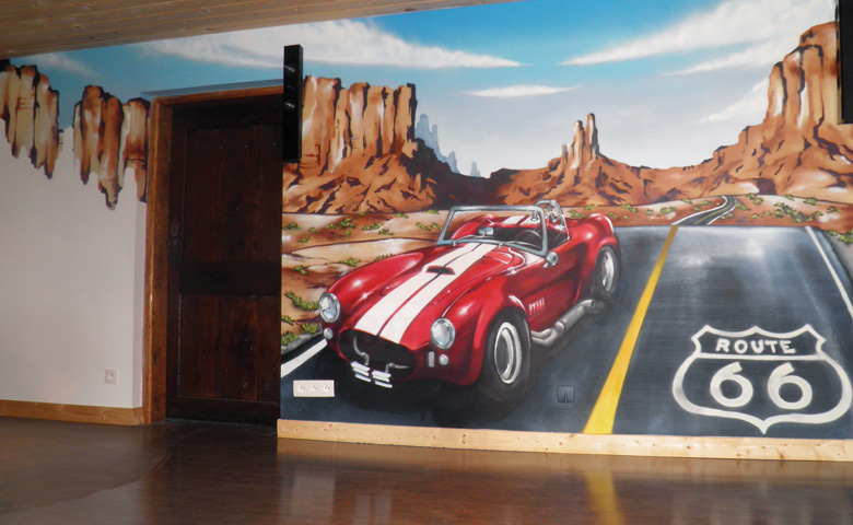 D coration salon voiture exemples d 39 am nagements for Decoration murale route 66