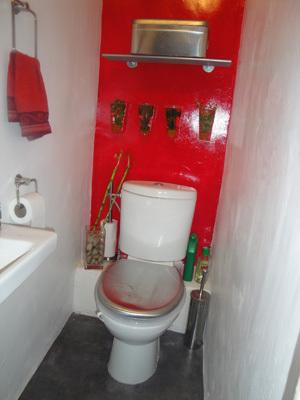D coration toilettes rouge et gris exemples d 39 am nagements - Decoration toilette gris ...
